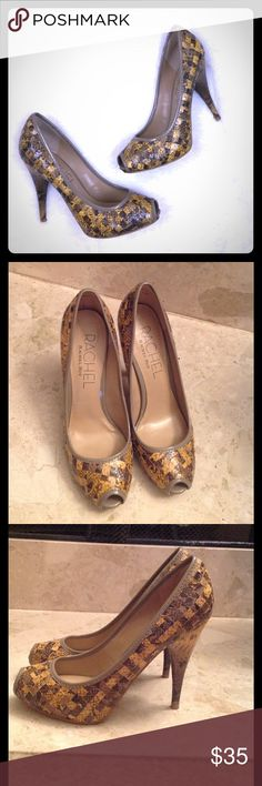 'Rachel' Rachel Roy - Designer Heels Gorgeous Open Toe heels by Designer Rachel Roy. Size 7.5   Gold/Brown/Tan 'snakeskin' patterned. Heels are 4 inches high. Excellent Condition . Perfect with knee length Dresses or with designer Jeans. RACHEL Rachel Roy Shoes Heels