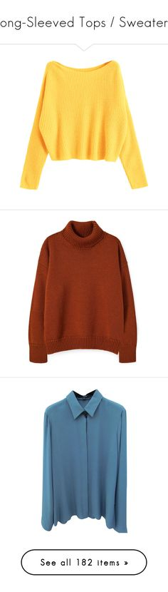 """""""Long-Sleeved Tops / Sweaters"""" by fangirlingciera ❤ liked on Polyvore featuring sweaters, shirts, longsleeves, tops, zaful, off one shoulder sweater, oversized pullover sweater, yellow sweater, over sized sweaters and pullover top"""