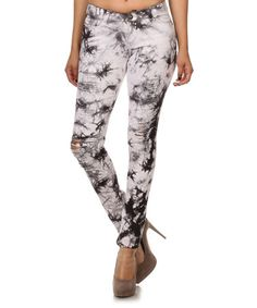Another great find on #zulily! Charcoal Tie-Dye Emperial Premium Distressed Jeans #zulilyfinds