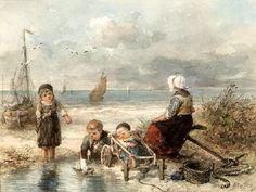Johan Mari Henri (Mari) ten Kate, (1831-1910) Vissersvrouw met haar kinderen op het strand. (Coll. Simonis&Buunk, Ede)