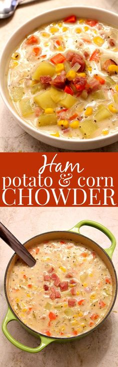 Ham Potato and Corn Chowder - thick and creamy chowder with leftover ham, potatoes and corn. Lightened up with milk instead of cream and made in 20 minutes!