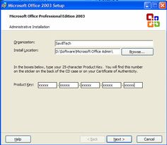office 2003 product key not working