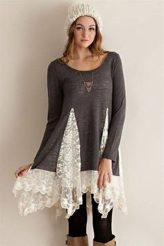 Tunic sweater top with lace detailing sweater refashion, tunic sweater, refashion dress, diy Refashion Dress, Diy Clothes Refashion, Diy Clothing, Sewing Clothes, Sweater Refashion, Refashioning Clothes, Redo Clothes, Upcycled Sweater, Clothes Crafts