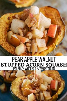 Pear Apple Walnut Stuffed Acorn Squash - an easy, delicious fall side dish that is paleo, whole30, and vegetarian. Stewed apples and pears make for an amazingly flavorful treat of a dish! #paleo #whole30 #healthy #sidedish #acornsquash #wintersquash #glutenfree #vegetarian