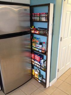 How Do You Choose Sliding Shelves for Your Kitchen. How Do You Choose Sliding Shelves for Your Kitchen. Build Your Own Slide Out Pantry Heather S Handmade Life Organisation Hacks, Organizing Hacks, Kitchen Organization, Estoque Do Trailer, Slide Out Pantry, Pull Out Pantry, Rolling Pantry, Diy Slides, Diy Rangement