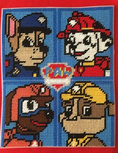Cross Stitch Paw Patrol(Chase,Marshall,Zuma&Rubble) by Marcelle Powell ❤️