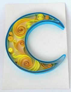 Paper Quilling MoonPaper Wall DecorBlue Moon by SparkeKidsBoutique