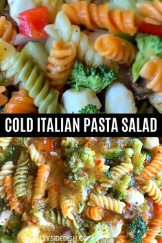 Tri color pasta salad with Italian dressing and seasoning is the BEST rotini pasta side dish with crunchy fresh vegetables and soft mozzarella cheese EVER! Rotini Pasta Recipes, Broccoli Pasta Salads, Veggie Pasta, Spinach Salads, Taco Salads, Fruit Salads, Tri Color Pasta Salad, Summer Pasta Salad, Italian Dressing Pasta Salad