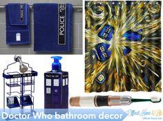 Doctor Who-themed bathroom decor