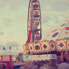 Maybe pictures/cutouts of a ferris wheel and carousel? Also, this could be a good color palette--green, purple, and yellow? Maybe with some pink? Fair Rides, Country Fair, Carnival Rides, Fun Fair, Vintage Carnival, Through The Looking Glass, Sunset Photos, Color Stories, Summertime