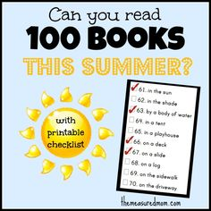 summer reading challenge read 100 books this summer with checklist the measured mom Summer Reading Challenge: Can you read 100 books? (with printable checklist) Reading Activities, Kids Reading, Teaching Reading, Fun Learning, Reading Club, Early Learning, Summer Activities, Outdoor Activities, Teaching Kids