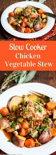 Slow Cooker Chicken Vegetable Stew Recipe ~ http://jeanetteshealthyliving.com