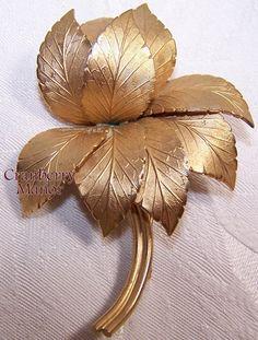 #Coro Pegasus Brooch, Gold Leaf Spring Flower Garden Floral Figural Pin, #Vintage 1950s #Fashion #Designer Signed Costume #Jewelry #CoroPegasus