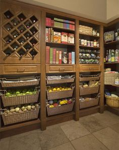 My dream pantry! My dream pantry! My dream pantry! Kitchen Pantry Storage, Kitchen Pantry Design, Kitchen Pantry Cabinets, Wine Storage, Pantry Baskets, Produce Baskets, Food Storage, Storage Ideas, Pantry Room