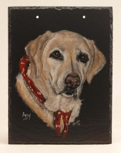 Custom Yellow Lab Portrait on Natural Slate by Heart 2 Hand Creations.