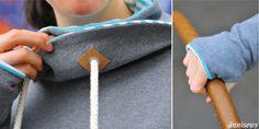 Mit Snappap verzierte Ösen und ein Daumenloch am Pullikleid machen das Herbstoutfit perfekt. Link zum Tutorial auf dem Blog.