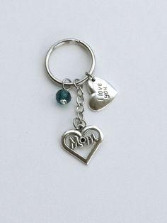 Mom Keyring, mom keychain, I love you mom keychain, blue keychain