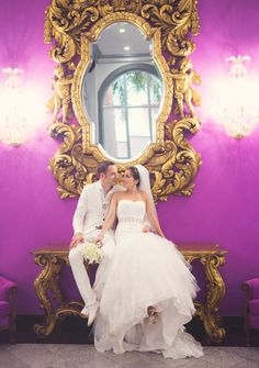 Bride & Groom Riu Palace Mexico - Destination Wedding - interior design - hotel decor - purple & gold