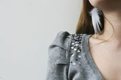 Pullover mit Perlen pimpen