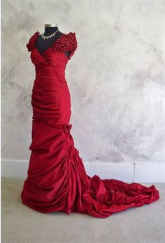 Red Wedding Dress by LeontinaCouture Red Wedding Dresses, Wedding Gowns, Formal Dresses, Formal Wear, Wedding Cakes, Wedding Inspiration, Wedding Ideas, Wedding Stuff, Dream Wedding