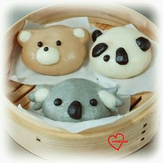 Loving Creations for You: Koala, Panda & Bear Salted Egg Custard Steamed Bun. Steamed Cake, Steamed Buns, Dumplings, Chinese Cake, Chinese Desserts, Kawaii Cooking, Bun Cake, Cute Buns, Salted Egg