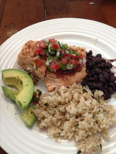 eating clean on the AdvoCare 24 Day Challenge - chicken breast, brown cilantro lime rice, black beans with fresh pico