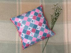 Items similar to Handmade Patchwork Cushion - Pink and Blue Pattern - Pink PomPom Trim on Etsy Patchwork Cushion, Patchwork Designs, Pom Pom Trim, Bright Pink, Sally, Cushions, Throw Pillows, Sewing, Fabric