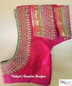 Bridal Blouse Designs done at Vidhya's Comfort Designs, Besant Nagar, Chennai Contact - 9003020689 Bridal Blouse Designs done at Vidhya's Comfort Designs, Besant Nagar, Chennai Contact - 9003020689 Cutwork Blouse Designs, Simple Blouse Designs, Blouse Back Neck Designs, Simple Designs, Mirror Work Blouse Design, Chennai, Maggam Work Designs, Designer Blouse Patterns, Sumo