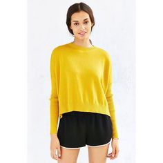 Silence + Noise Silence + Noise Shiloh Sweater ($49) ❤ liked on Polyvore featuring tops, sweaters, mustard, crew neck pullover sweater, yellow pullover, pullover sweater, yellow knit sweater and crewneck sweater