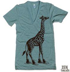this shirt is the best shirt ever,  1. giraffe  2. v-neck  3. teal  4. GIRAFFES!