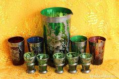 JARRA , VASOS Y COPITAS DE CRISTAL VERDE DE BOHEMIA PINTADAS EN PLATA Planter Pots, Bohemian, Glass, Silver, Crystals, Green