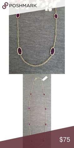 NWT Kendra Scott Kelsie Station Purple Jade Gorgeous stones on a long chain, perfect for layering! Add to your collection or start a new one! Perfect condition, never worn! Kendra Scott Jewelry Necklaces