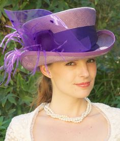 Kentucky Derby Hat Womens Lavender Straw Violet by AwardDesign, $118.00