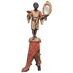19th Century Venetian Polychromed Blackamoor Statue on a Draped Pedestal   From a unique collection of antique and modern sculptures at https://www.1stdibs.com/furniture/more-furniture-collectibles/sculptures/
