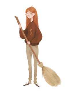 """""""Come on, Ginny's not bad,"""" said George fairly, sitting down next to Fred. """"Actually, I dunno how she got so good, seeing how we never let her play with us.""""""""She's been breaking into your broom shed in the garden since the age of six and taking each of your brooms out in turn when you weren't looking,""""said Hermione from behind her tottering pile of Ancient Rune books.  — Harry Potter and the Order of the PhoenixDrawing fanart is irresistible when watching a Harry Potter m..."""