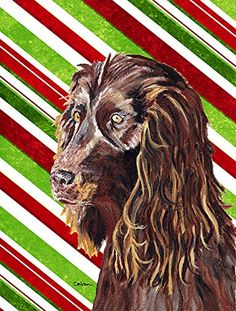 Caroline's Treasures SC9616CHF Boykin Spaniel Candy Cane Christmas Flag Canvas, Large, Multicolor ** Tried it! Love it! Click the image. : Garden Christmas Decorations