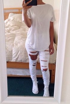 casual outfit all white