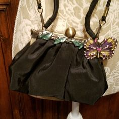 VTG Handbag Evening Bag Black Faile Antiqued Gold Clasp Rhinestone Butterfly | Clothing, Shoes & Accessories, Women's Handbags & Bags, Handbags & Purses | eBay!