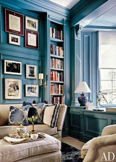 Love this blue for the shelving and the molding. http://clunygrey.blogspot.com