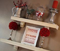 2 shelves in living room/dining room to decorate each holiday. Valentine's Day Printable & red rose candlestick topiary