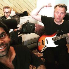 Jocke Berg and Martin Skold with Carl Falk in studio