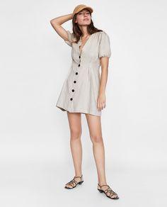 Image 1 of BUTTONED LINEN DRESS from Zara