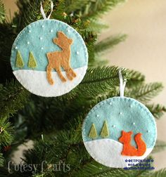 Christmas sewing with instructions - DIY Christmas tree ornaments - DIY Projects Felt Christmas Decorations, Felt Christmas Ornaments, Diy Christmas Ornaments, Handmade Christmas, Christmas Sewing, Tree Decorations, Christmas Projects, Felt Crafts, Holiday Crafts