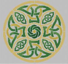 Endless Knot cross stitch pdf chart pattern celtic knotwork shield instant download