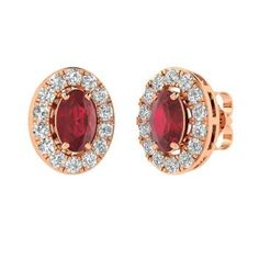 Oval-Cut Ruby Earrings in 14k Rose Gold with SI Diamond