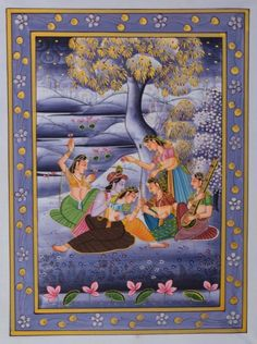 Violet miniature Traditional Art by Unknown on Silk, Religious based on theme ECraft Krishna Pictures, Traditional Artwork, Krishna Art, Buy Art Online, Indian Paintings, Selling Art, Silk Painting, Tribal Art, Types Of Art