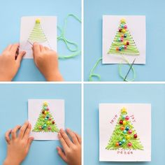 ▷ 1001 + suggestions de bricolage de Noël maternelle créatif original idea of Christmas card in green wool yarn decorated with colorful beads strung on white paper Handmade Christmas, Christmas Crafts, Clay Stamps, Diy Wall Art, Diy Birthday, Diy For Kids, Diy Tutorial, Diys, Plus Jamais