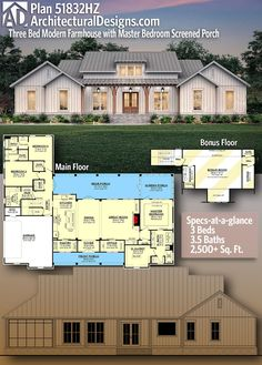 Plan Three Bed Modern Farmhouse with Master Bedroom Screened Porch – farmhouse front door with screen Ranch House Plans, New House Plans, Dream House Plans, House Floor Plans, Dream Houses, Basement House Plans, The Plan, How To Plan, Architectural Design House Plans