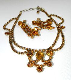 Juliana Rhinestone Demi Parure Bib Drippy Necklace by JeweledLuv