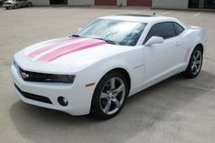 White camaro with pink racing stripes